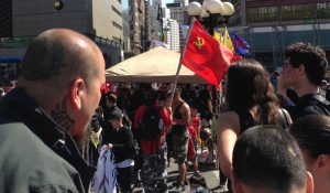Communist Flag at May Day Rally in NYC