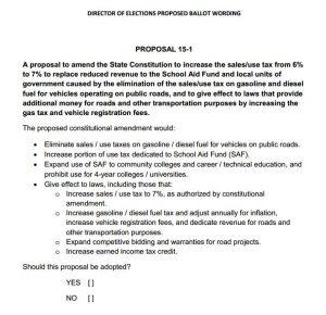 2015 Ballot Proposal 15-1 May 5th