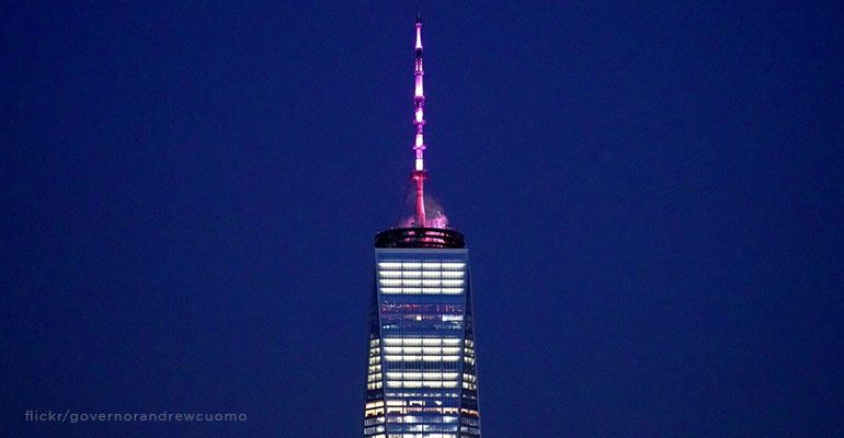 Pink lit spire of New York's One World Trade Center, 408 foot celebration of the just passed He